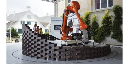 image of robot laying bricks in decorative pattern