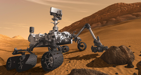 artist's concept of Curiosity on Mars