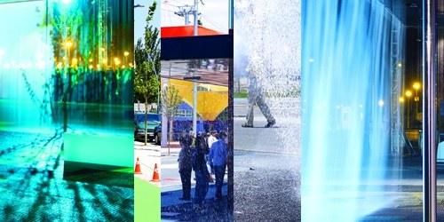 composite photo of Digital Water Pavilion
