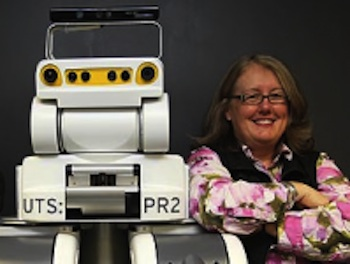 photo of Prof. Mary-Anne Williams with PR2