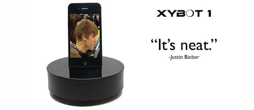 XYBOT with image of J.Bieber and text