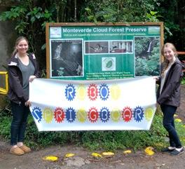 Hannah & Rachel Tipperman with Robot Springboard banner